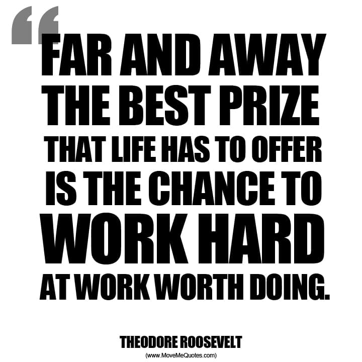 Work Hard at Work Worth Doing ~ Theodore Roosevelt