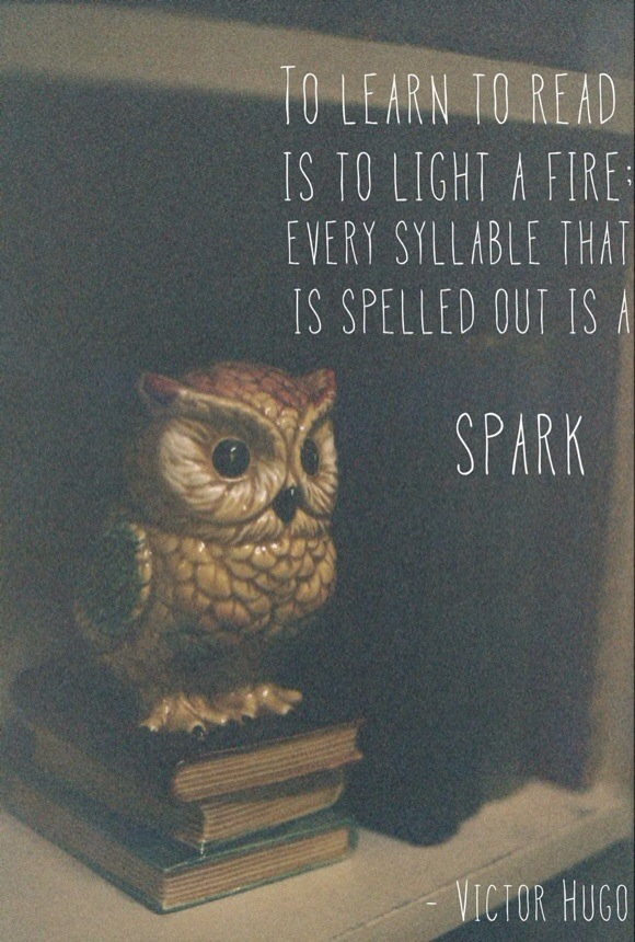 To learn to read is to light a fire. Every syllable that is spelled out is a SPARK!